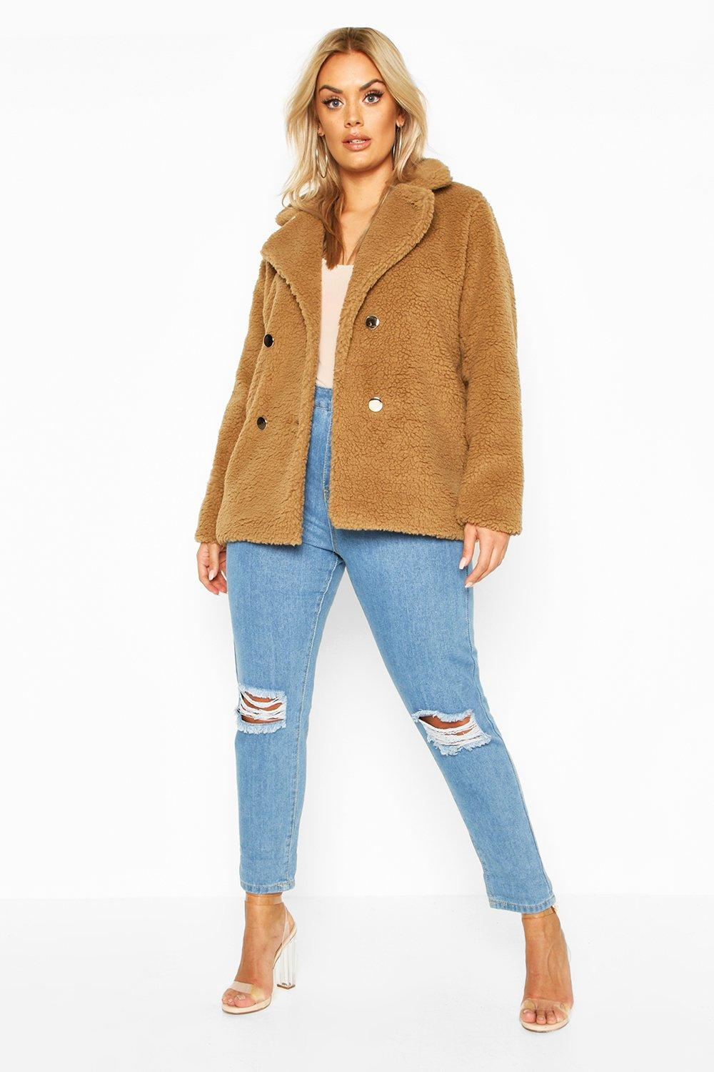 Plus Double Breasted Teddy Faux Fur Coat 8