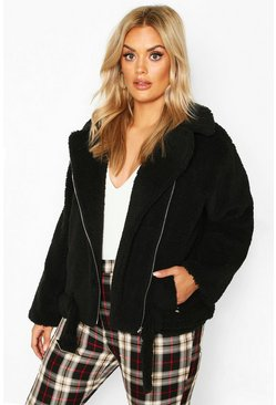 Womens Black Plus Teddy Faux Fur Biker Jacket