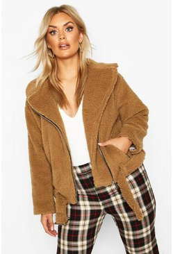 Plus Teddy Faux Fur Biker Jacket, Brown