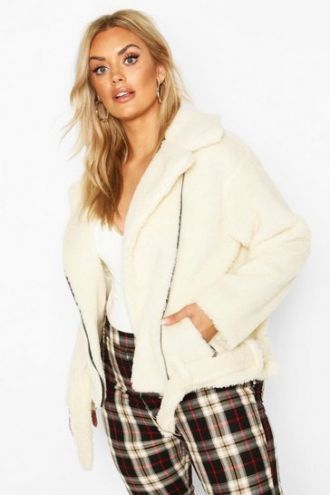 Cream Plus Teddy Faux Fur Biker Jacket