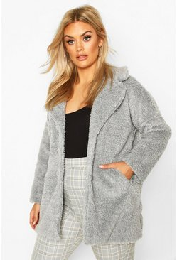 Grey Plus Faux Fur Teddy Coat