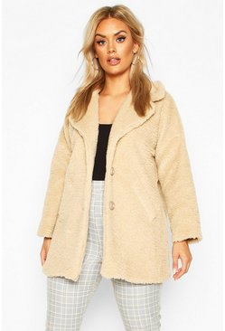 Stone Plus Faux Fur Teddy Coat