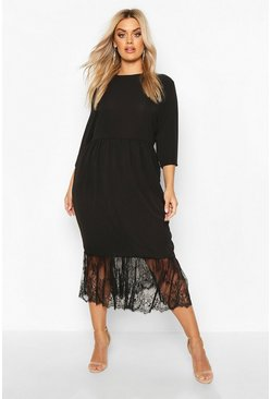 Plus Lace Hem Ruffle Midi Dress, Black, MUJER