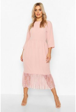 Womens Rose Plus Lace Hem Ruffle Midi Dress