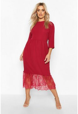 Lace Hem Ruffle Midi Dress, Wine, FEMMES