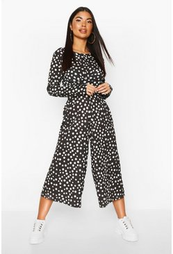 Womens Black Petite Twist Front Polka Dot Jumpsuit