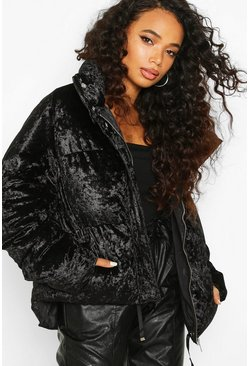 Womens Black Petite Velvet Padded Jacket