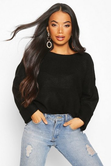 Black Petite Soft Knit Slouchy Jumper