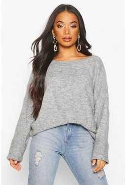 Womens Grey Petite Soft Knit Slouchy Jumper