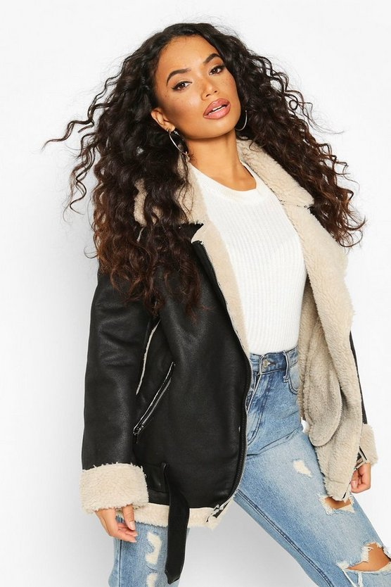 Petite Teddy Fur Lined Aviator