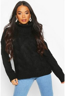 Womens Black Petite Chunky Cable Knit Roll Neck Jumper