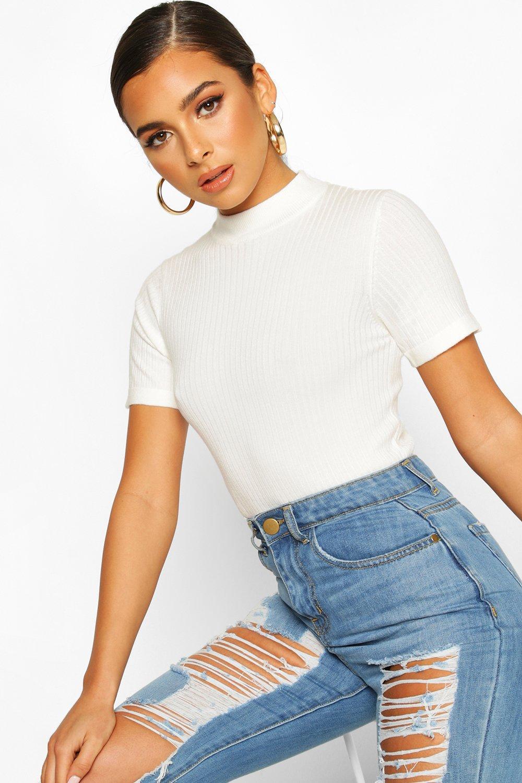 60s Shirts, T-shirts, Blouses, Hippie Shirts Womens Petite Short Sleeve Fine Knit Rib sweater - white - M $8.00 AT vintagedancer.com