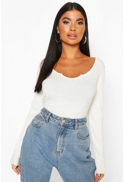 Petite Cropped Notch Neck Fine Knit Rib Top, Cream