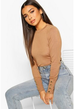 Petite Button Detail Fine Knit Crew Neck Jumper, Camel