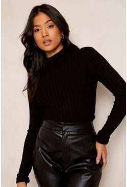 Black Petite High Neck Fine Knit Rib Sweater