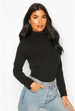 Black Petite Cotton Roll Neck Bodysuit