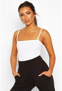 Petite Rib Square Neck Bodysuit, White