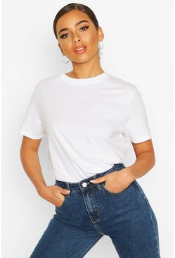 White Petite Round Neck Cotton T-Shirt