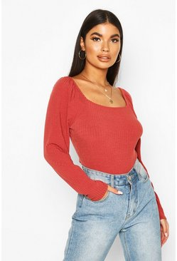 Womens Rust Petite Square Neck Long Sleeve Knit Rib Bodysuit
