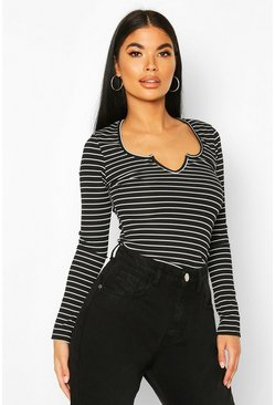 Black Petite Stripe Rib Notched Neck Bodysuit