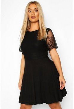 Plus Eyelash Lace Sleeve Skater Dress, Black