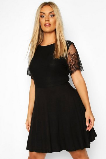 Womens Black Plus Eyelash Lace Sleeve Skater Dress