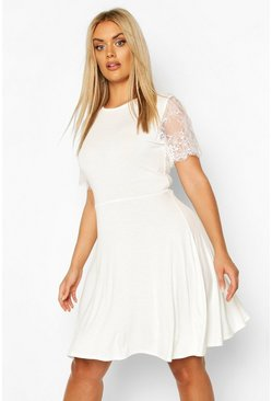 Womens Ivory Plus Eyelash Lace Sleeve Skater Dress