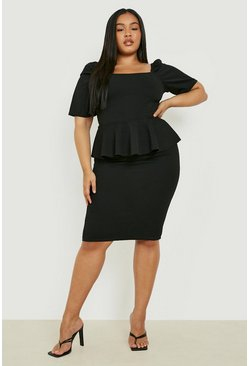 Plus Peplum Puff Sleeve Midi Dress, Black, MUJER