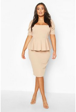 Plus Peplum Puff Sleeve Midi Dress, Stone