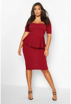 Plus Peplum Puff Sleeve Midi Dress, Wine