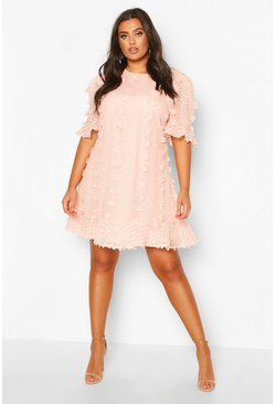 Womens Blush Plus Dobby Mesh Ruffle Smock Dress