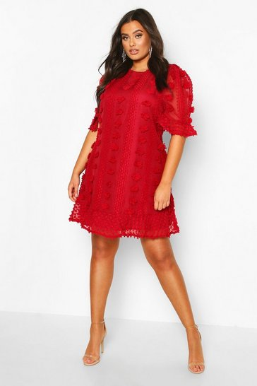 Wine Plus Dobby Mesh Ruffle Smock Dress