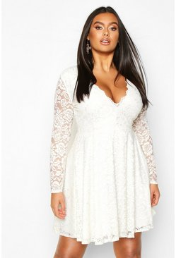 Womens Ivory Plus Lace Scallop Edge Skater Dress