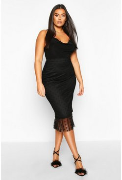Womens Black Plus Dobby Mesh Peplum Frill Midi Skirt