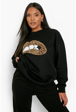 Womens Black Plus Sequin Lip Sweatshirt