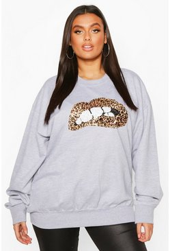 Womens Grey marl Plus Sequin Lip Sweatshirt