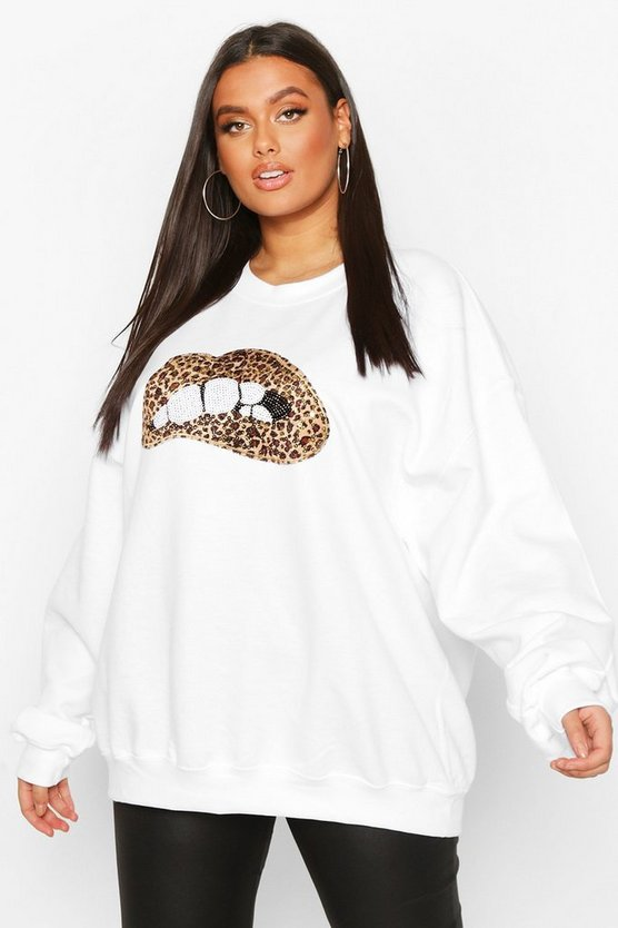 White Plus Sequin Lip Sweatshirt