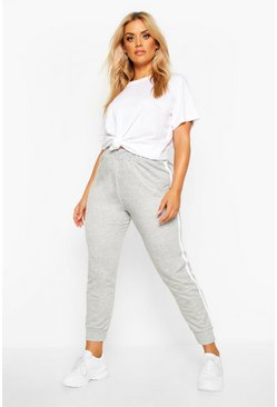 Grey Plus Side Stripe Jogger