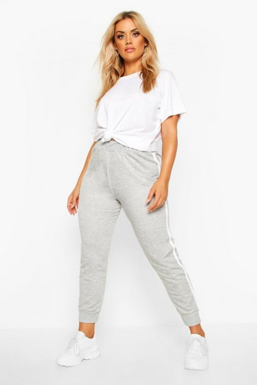 Womens Grey Plus Side Stripe Jogger