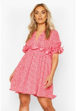 Plus Floral Frill Smock Dress, Red