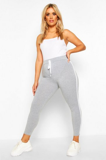 Womens Grey Plus Side Stripe Legging