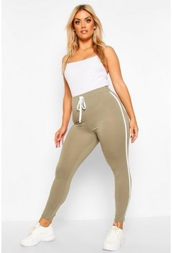 Womens Khaki Plus Side Stripe Legging