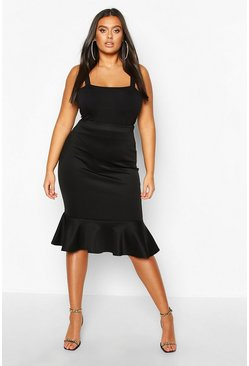Womens Black Plus Scuba Peplum Hem Midi Skirt