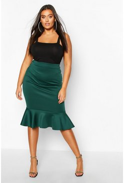 Womens Emerald Plus Scuba Peplum Hem Midi Skirt