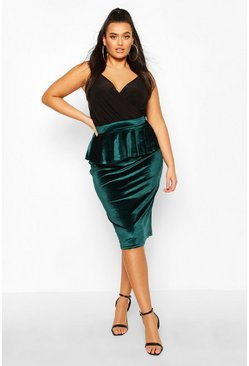 Womens Emerald Plus Velvet Peplum Midi Skirt