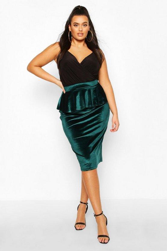 Plus Velvet Peplum Midi Skirt