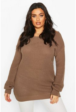 Plus Slashed Neck Oversized Jumper, Mocha