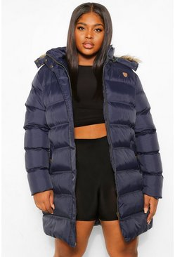 Plus Longline Padded Hooded Jacket, Navy