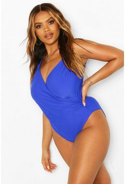 Cobalt Plus Ruched Wrap Front Swimsuit