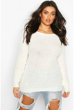 Cream Plus Slash Neck Fisherman Sweater